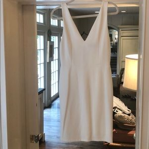 Alice + Olivia white cotton V-neck dress-Size 10